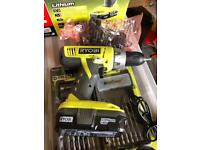 RYOBI One+ 18v Drill with extra battery and drill bit set unopened