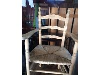 Lovely carver wooden chair with wicker seat
