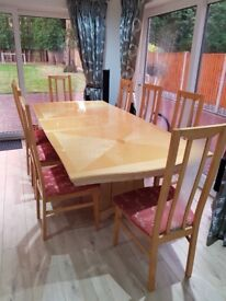 Italian wood Dinning Table with 8 chairs