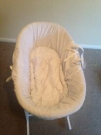 Cream Moses basket with stand and nearly new mattress