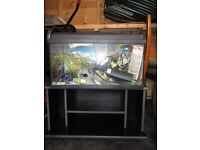 tropical fish tank and accesaries and cabinet