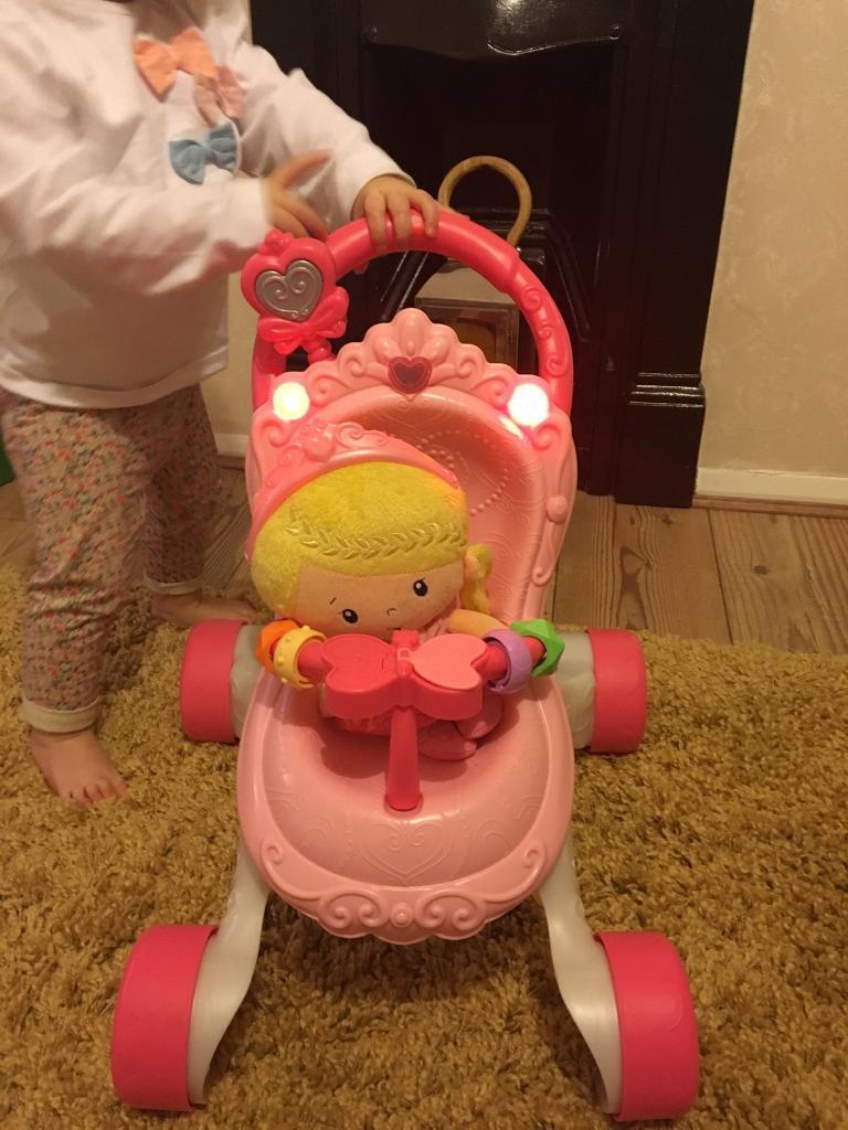 Fisher price princess stroller and walker with doll