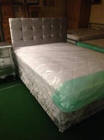 King size silver velvet base, silver headboard and good mattress, package only £180 bargain