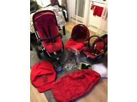Quinny Buzz Travel System Pushchair, Maxi Cosi car seat, folding Carrycot