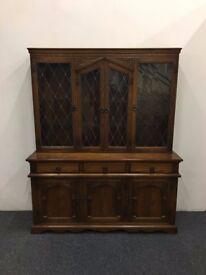 Large Oak Glass Fronted Welsh Dresser