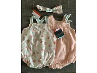 Cynthia rowley brand new baby girl two rompers and headband size 12 months