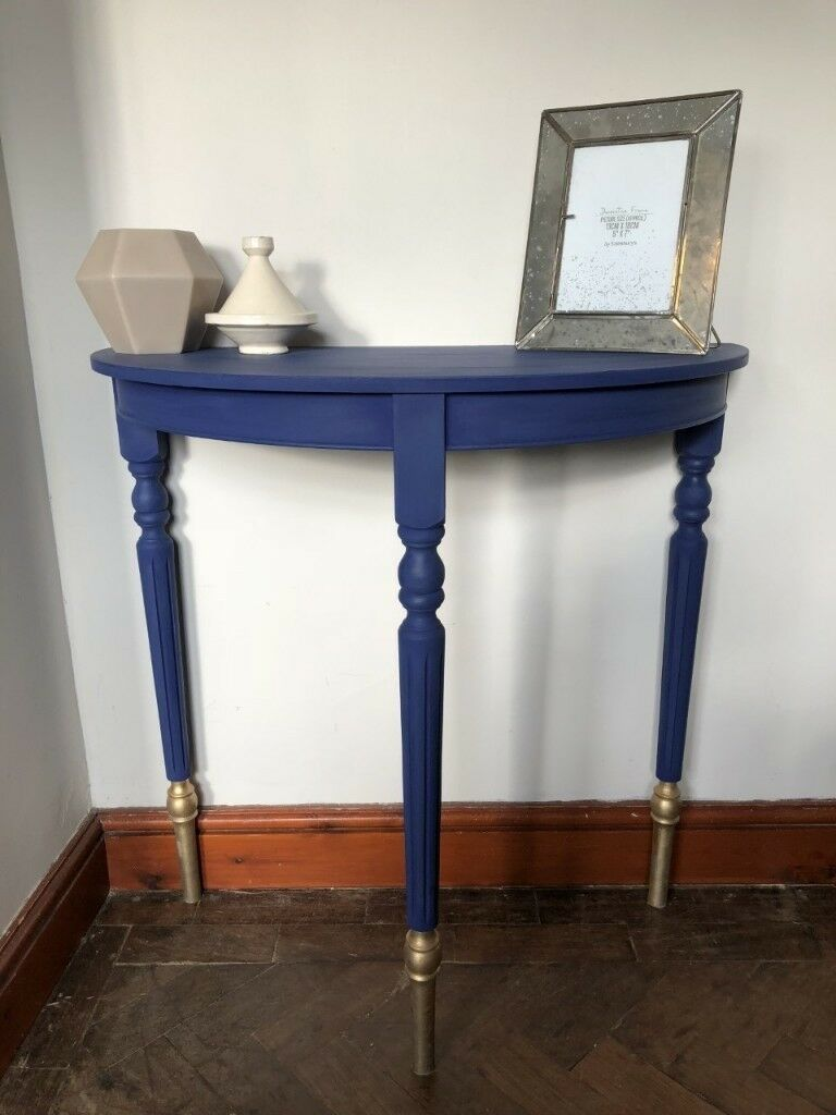 Vintage Blue Gold Hall Half Moon Table
