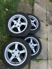"15"" alloy wheels. Set of 4, Good condition. Good tread, nail in one tyre."
