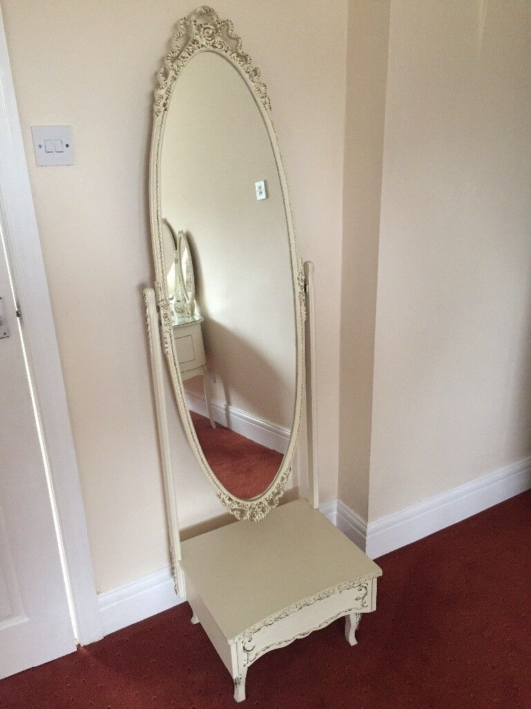 French style free standing mirror on stand with drawer | in ...