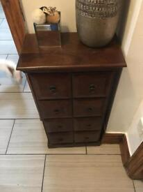 Side cabinet dark wood table with drawers
