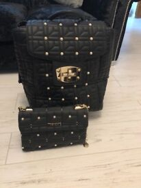 River Island Black quilted handbag and cabin luggage new.