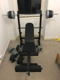 Folding Weight Bench and Free Weights