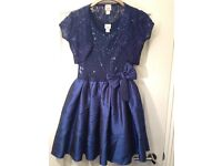 Girls Party dress 158/161 cm Navy with sequins, Lace and sequin shrug also.