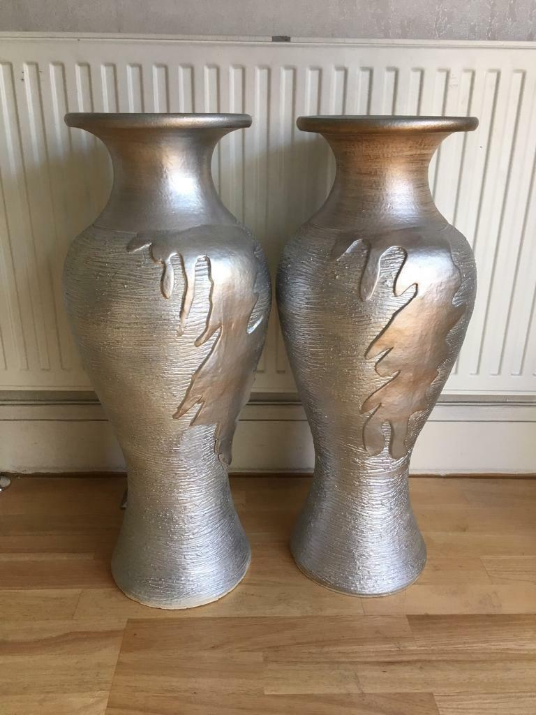 2 large silver floor standing vases rococo ornate traditional in 2 large silver floor standing vases rococo ornate traditional reviewsmspy