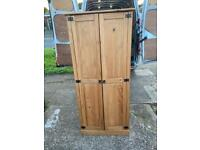 Solid pine wardrobe with shelve and hanging rail inside