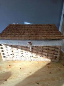 large basket with cotton lining great storage for linen or toys etc