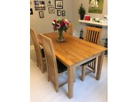 Solid Oak Dining Table and Four Chairs - £300