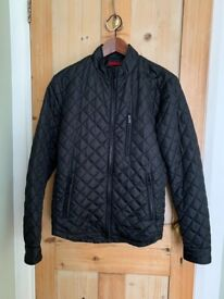 Men's puffer style black bomber jacket (size small)