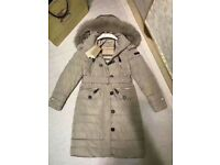 Burberry Women Pipleigh Leather Trim Down Coat with Fox Fur Hood Size M Honey