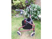 Three wheeled mobility walker