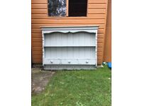 Brand new, French Grey, distressed unit.. 2 shelves, 3 draws, 6 cup hooks