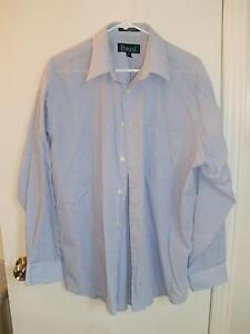 Men's White/Blue Check Dress Shirt, Protocol, sz 16 1/2