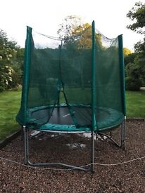 Trampoline for sale. Enclosed with safety net. Approx 6ft diameter. In good order.