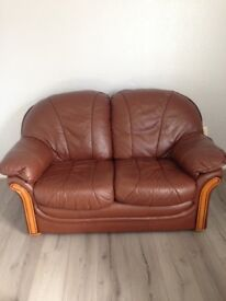 Two good quality brown leather sofas ( 2 seater)