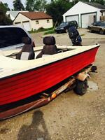14' fibreglass with 2 50hp Mercury outboard