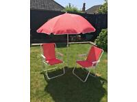 LOVELY UMBRELLA AND CHAIR SET RED SPOTS FOLDS GREAT FOR BEACH - FABULOUS CONDITION