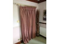 PALE PINK THICK VELOUR LINED CURTAIN FOR SINGLE DOOR