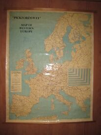 Large Vintage Pickfords Wall Map of Western Europe