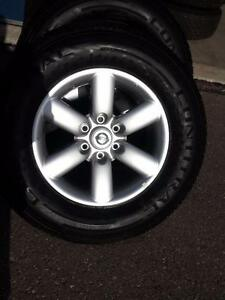 BRAND NEW TAKE OFF 2016 NISSAN TITAN 18 INCH ALLOY WHEELS WITH HIGH PERFORMANCE CONTINENTAL 265 / 70 / 18 ALL SEASONS