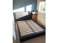 Double Bed Frame - Chocolate Brown leather look