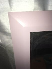 Large light purple wooden framed mirror