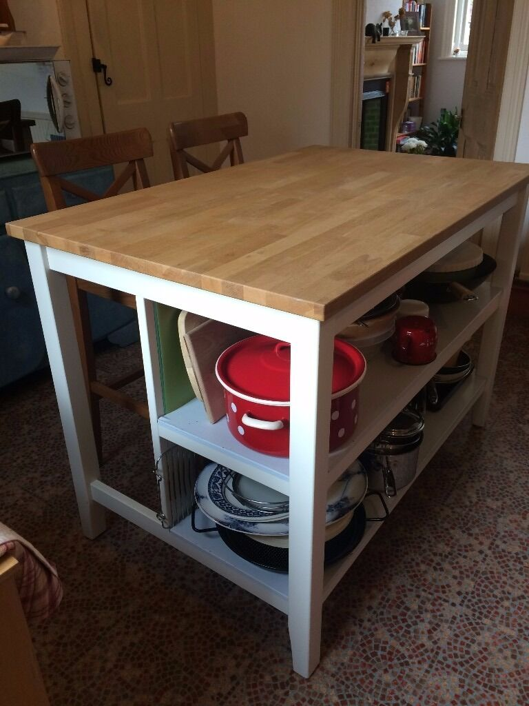 IKEA Sternstorp Kitchen Island and 2 Ingolf Bar Stools collect ...