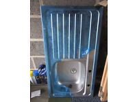 New Stainless Steel Kitchen Sink LH Drainer for 2 Taps