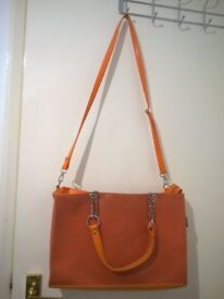 Various Leather Handbag and purse - orange, black with green and pink print