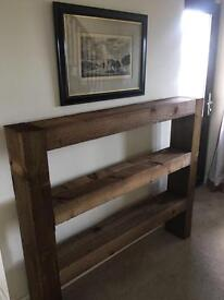 Chunky wooden sleeper bookcase