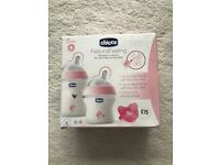 Chicco natural feeding set pink - new in box bottles and dummy