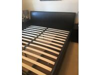 Superking Bed Frame in Dark Brown Faux Leather with 4 drawers
