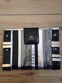 River Island black/silver clutch bag