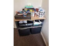 Two tables in good condition and 1 single bed with mattress