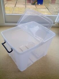 Mixed size plastic storage boxes, with flip lids - from £3 each - see details for sizes and prices