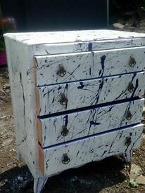 Unique upcycled lebus chest of drawers (paint splattered)