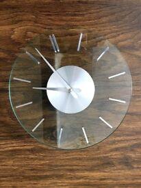 VINTAGE 70'S FLAT GLASS WALL CLOCK