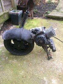zip 50 cc running complete engine back wheel and shock