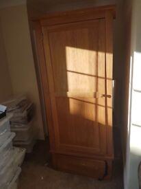 Solid wood pine wardrobe door knob missing on bottom drawer