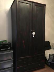 Double Solid Pine Wardrobe and two chest of drawer set