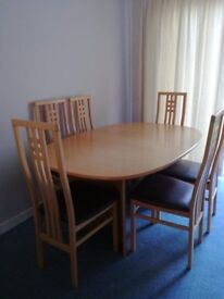 Solid beech dining table and chairs